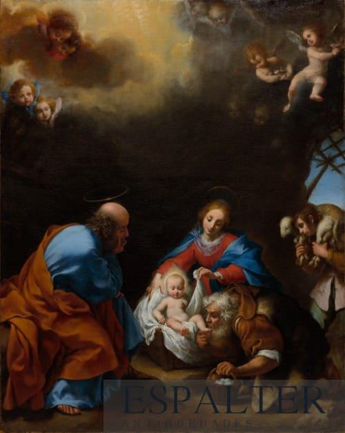 Cuadro adoración de pastores siglo XVII