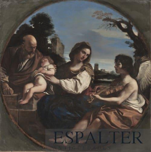 Cuadro de la huida de Egipto pintado en el Siglo XVII, compramos cuadros de la Virgen y el Niño