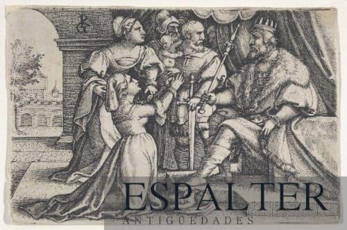 Cuadro representación juicio Salomón siglo XVI, pintura del pasaje bíblico del juicio Salomón antiguo testamento