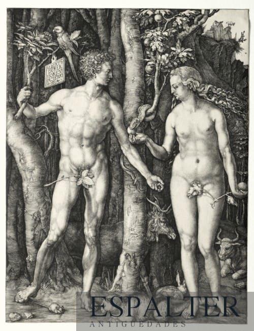 Cuadro bíblico de Adán y Eva en el paraíso siglo XVI