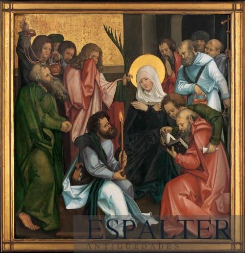 Representación dormición de la Virgen cuadro antiguo siglo XVII, Compra venta de cuadros antiguos de la Virgen