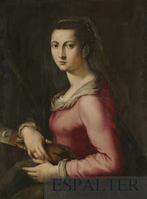 Cuadro religioso de santa Catalina del siglo XVII